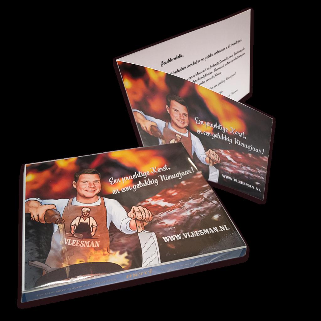 Gepersonaliseerde Merci chocolade doos met eigen kaart-inlay voor de Vleesman als relatiegeschenk.